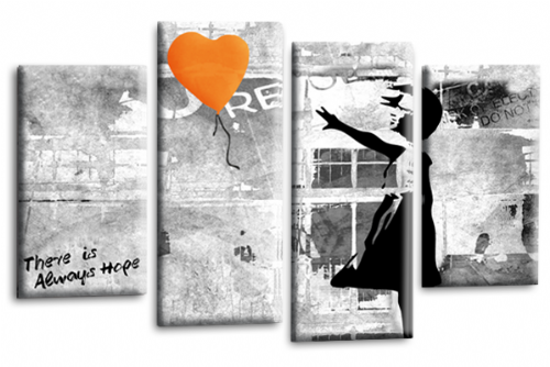 Banksy Art Orange Balloon Girl Canvas Wall Picture Love Peace Hope